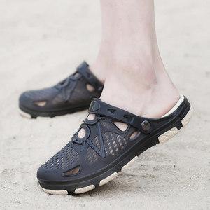夏季包头护脚趾沙滩洞洞鞋男士大码厚底<span class=H>拖鞋</span>搭扣防滑耐磨室外凉鞋