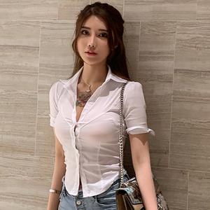 夜店女装2019夏季款气质V领修身OL衬衫制服性感低胸紧身百搭上衣