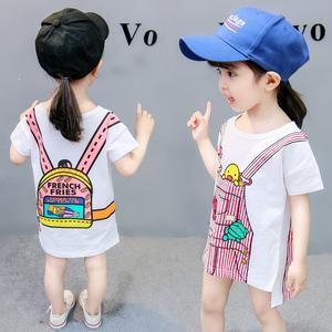 女童春夏<span class=H>T恤</span>中长款2018<span class=H>儿童</span>韩版长袖上衣纯棉宝宝1-2-3岁短袖童装