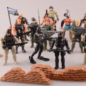 軍事擺件戰爭兵人模型部隊<span class=H>玩具</span>士兵特種兵人套裝帶武器塑料擺件