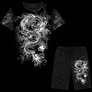 中国风男装夏季短袖T恤衫套装<span class=H>短裤</span>龙图案水墨风印花海边沙滩衣服