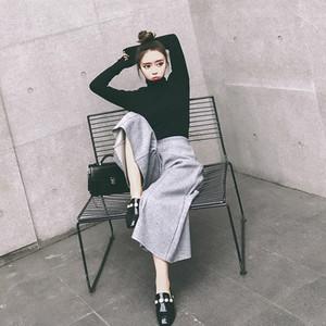 2018秋冬季新款时尚<span class=H>女装</span>气质针织衫高腰显瘦阔腿裤长裤套装两件套