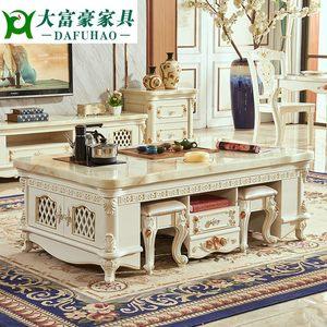 欧式<span class=H>大理石</span>面功夫茶几<span class=H>餐桌</span>两用小户型简约茶桌客厅实木电视柜组。