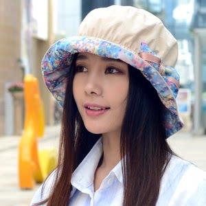 女春夏韩版碎花帽子优雅盆帽渔夫帽盆帽可折叠太阳帽秋百搭遮阳帽