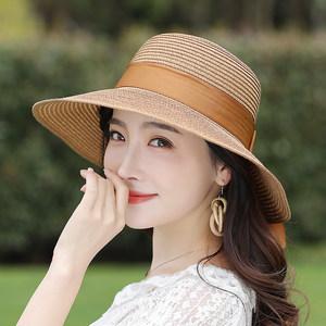 夏季<span class=H>草帽</span>女折叠海边出游夏天女士太阳帽女百搭遮脸大沿遮阳沙滩帽