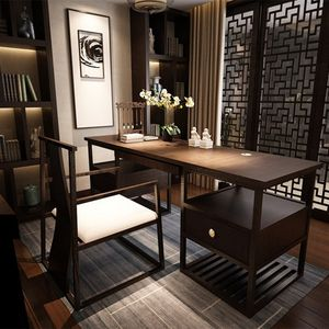 新中式书桌 现代中式书桌椅组合 酒店样板房书房办公桌实木<span class=H>写字台</span>