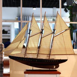 经典古船帆船模型拼装<span class=H>木船</span>摆件 大船客厅摆件游艇快艇游轮大帆船