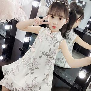 女童<span class=H>旗袍</span>夏季唐装改良中国风小女孩雪纺连衣裙公主裙儿童洋气汉服