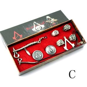 游戏动漫周边刺客信条项链戒指饰品9件套装<span class=H>服饰</span>配件