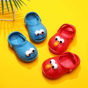 芝麻街拖鞋夏婴幼儿小童宝宝女童儿童洞洞鞋1-3岁2防滑男童凉拖鞋