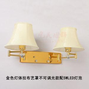 头卧室墙<span class=H>壁灯</span>书房宾馆可调光双头双摇臂led酒店房间温馨布艺灯
