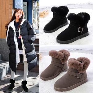 莱井雪地靴女皮毛一体冬季新款时尚短筒加绒加厚休闲松糕厚底靴子
