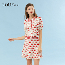 ROUE Luyi 2019 New Kind of Girls'Loving Knitted Suit Skirt Short Sleeve Two-piece Women's Knitted Dress
