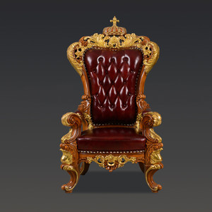 欧式<span class=H>休闲椅</span>实木雕花真皮老板椅法式奢华沙发椅高档别墅会客靠背椅