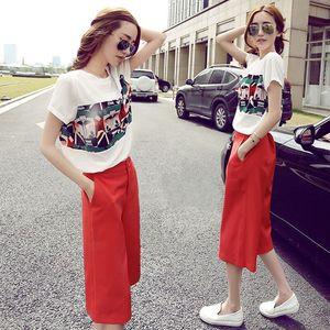 夏季新款韩版短袖雪纺衫上衣阔腿七分裤休闲时尚气质两件套装女潮