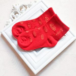 婴儿<span class=H>袜子</span>夏季薄款男女宝宝纯棉新生儿0-1岁刚出生大红色满月周岁