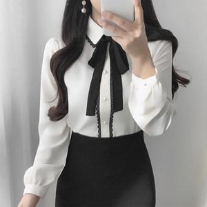 韩国代买正品<span class=H>雪纺衫</span>女长袖春翻领黑色蕾丝条系带黑蝴蝶结珍珠纽扣