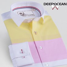 Deep-sea spring stitching men's long-sleeved shirt Korean version of self-cultivation shirt pure cotton inch shirt young men's pure cotton clothing