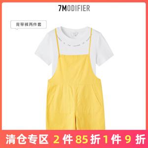 7modifier纯色背带裤2019夏季新款休闲时尚套装<span class=H>女装</span>宽松短裤短袖