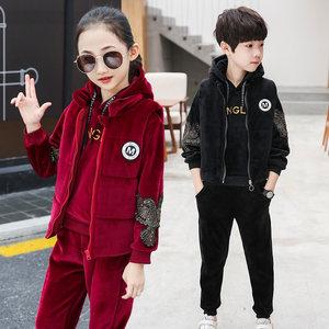 童装男童<span class=H>卫衣</span>秋冬2018新款韩版女童中大童加绒加厚金丝绒三件套装