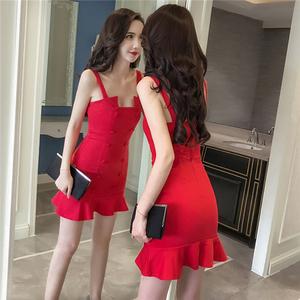 红色性感吊带裙子2018夏天新款女装夜店连衣裙气质修身包臀鱼尾裙
