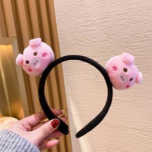 洗脸头箍发带网红粉色淘气小猪敷面膜防滑发箍 化妆居家卖萌发卡