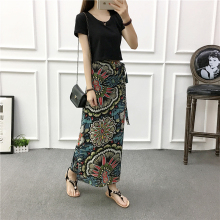One-piece half-length skirt Summer new short-sleeved T-shirt two-piece short jacket tied with long skirt fashion suit