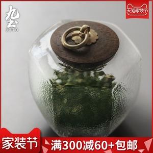 玻璃茶叶罐日式锤纹木盖茶仓<span class=H>储物罐</span>家用功夫茶具密封储存罐收纳罐