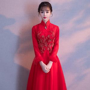 春季敬酒服新娘2019结婚新款红色长袖加厚保暖长款<span class=H>旗袍</span>改良礼服女