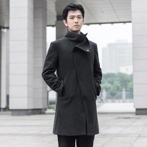 重道冬季新品中长款呢子<span class=H>大衣</span>男士休闲高领保暖修身羊毛毛呢外套男