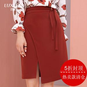 洛诗琳2017秋季新款女装性感砖红色短裙名媛时尚不规则高腰半身裙