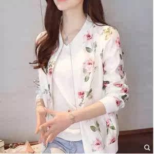 棒球衫外套女春夏新款韩版印花长袖开衫棒球服休闲夹克短款防晒衣