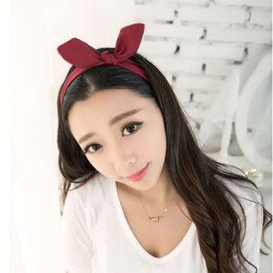 新款韩版纯色兔耳朵<span class=H>发带</span>弹力雪纺女生蝴蝶结发箍夏季头带韩国进口