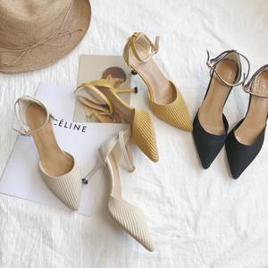 包头凉鞋女仙女风2019新款百搭尖头一字扣高跟细跟配裙的鞋子<span class=H>女鞋</span>