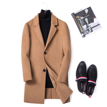 Fall and Winter Men's Wool Fabric Jacket Men's Double-sided Cashmere Overcoat Mid-long Warm British Windshield Men's Spring
