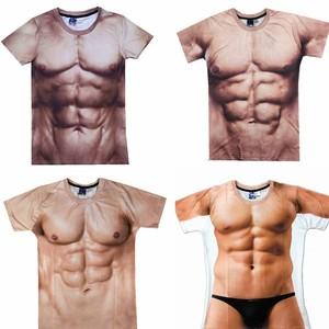 假腹肌肌肉男<span class=H>t恤</span>腹肌男胸肌个性创意搞笑短袖道具年会表演衣服装