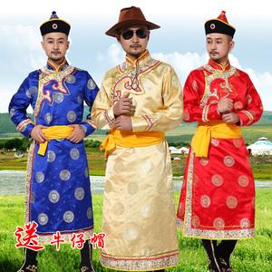 新款蒙古<span class=H>服装</span>蒙族<span class=H>男装</span>演出服少数民族男士长袍成人藏族舞蹈表演服