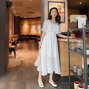 一字领T恤裙女夏中长款收腰显瘦气质超仙甜美蕾丝过膝雪纺连衣裙