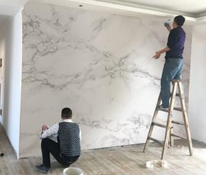 北欧<span class=H>壁纸</span>简约现代客厅卧室仿大理石电视背景墙纸定制壁画无缝墙