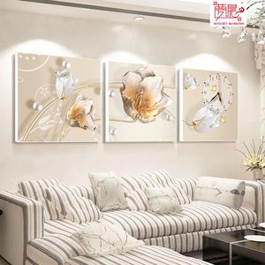 客厅<span class=H>装饰画</span>三联无框画挂钟卧室沙发背景墙壁画水晶画玻璃挂画钟表