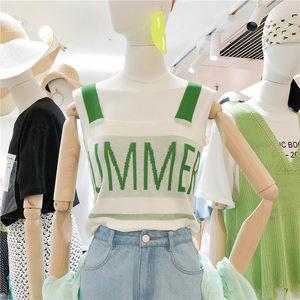 2019韩国夏装新款时尚字母无袖针织<span class=H>吊带</span>背心女内搭外穿短款<span class=H>上衣</span>潮