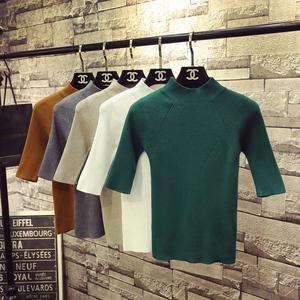 2018秋季新款韩国螺纹半高领中袖针织衫<span class=H>女装</span>套头五分袖紧身打底衫