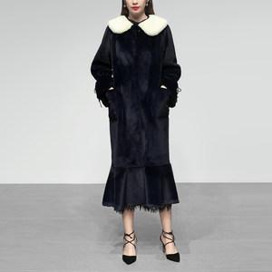 冬季女装2018新款水貂毛水貂绒中长款毛领皮草外套毛毛貂皮大衣女