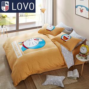 LOVO家纺床上用品四件<span class=H>套件</span><span class=H>床品</span>哆啦a梦卡通全棉磨毛被套床单
