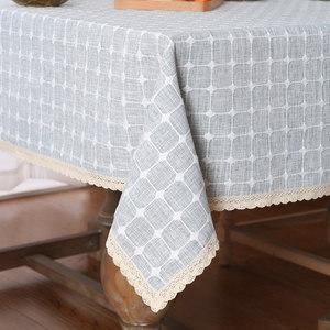 棉麻餐桌布布艺小清新正方形家用欧式茶几布格子桌布圆桌台布桌垫