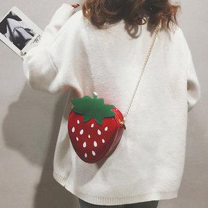 包包女2019新款潮韩版链条卡通少女ins超火百搭草莓斜挎单肩包