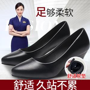 舒适正装礼仪面试职业鞋高跟鞋黑色<span class=H>女鞋</span>2018秋季<span class=H>单鞋</span>中跟工作<span class=H>鞋子</span>