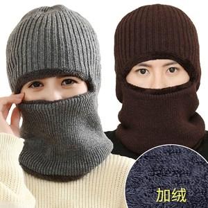 冬天骑行针织毛线<span class=H>帽子</span>男女冬季加绒护耳帽骑车防风保暖围脖一体帽