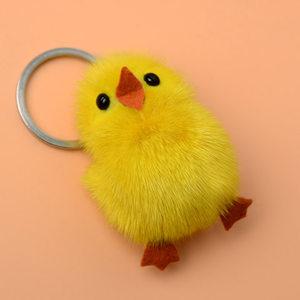 水貂毛皮草饰品小鸡挂饰皮草小黄鸭挂件手机钥匙扣挂饰十元包邮