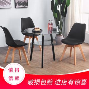 现代简约钢化玻璃圆桌家用吃饭桌铁艺洽谈圆形小桌子<span class=H>餐桌</span>桌椅组合